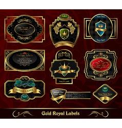 set colorful gold framed labels vector image vector image