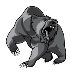 walking bear animal head black and white vector image