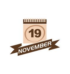 19 november calendar with ribbon vector
