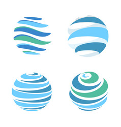 abstract blue global planet stripped logos vector image