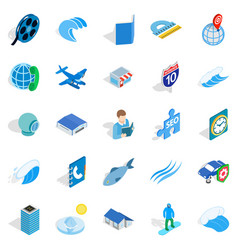 adventure films icons set isometric style vector image