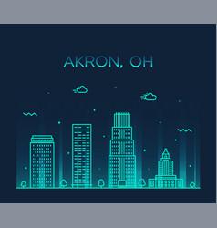 akron skyline ohio usa trendy city linear vector image