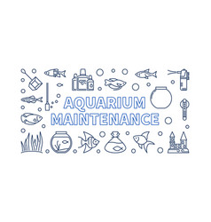 Aquarium maintenance horizontal banner or vector