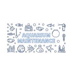 Aquarium maintenance horizontal banner vector