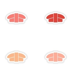Assembly realistic sticker design on paper sushi vector
