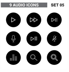 audio icons set vector image