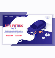 banner for online car service offers tire fitting vector image
