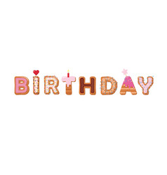 Birthday cartoon inscription sweet cake hand vector