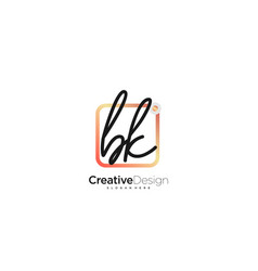 Bk initial letter handwriting logo art hand drawn vector