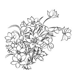 Black-and-white bouquet of flowers with leaves vector