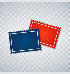 Blank postage stamps set on transparent background vector