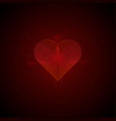 bright glowing 3d heart of lines valentine card vector image