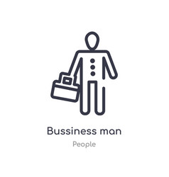 Bussiness man outline icon isolated line from vector