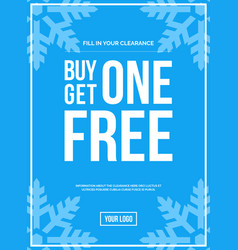 Buy one get one off sign winter sale vector