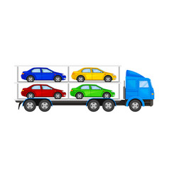 Car transporter truck with autos for retail sales vector