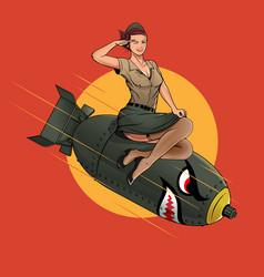 Cherry bomb ww2 pin up girl vector