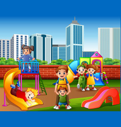 children having fun with family in the playground vector image