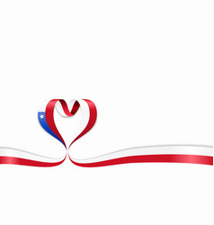 chilean flag heart-shaped ribbon vector image