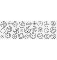 circle gears with patterns doodle set vector image