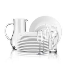 Clean tableware realistic design concept vector