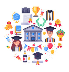 College graduate icons graduation day students vector