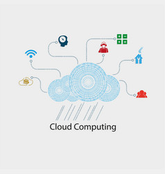 computer cloud numbers vector image