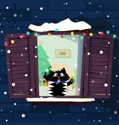 cute cartoon cat catching vector image