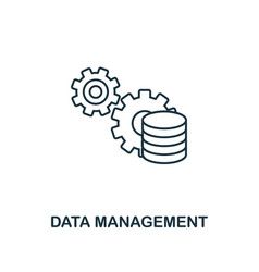 data management icon thin line style industry 40 vector image