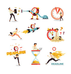 Deadline clock and hourglass businessman time vector