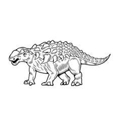 Dinosaurs ankylosaurus engraving drawing art vector