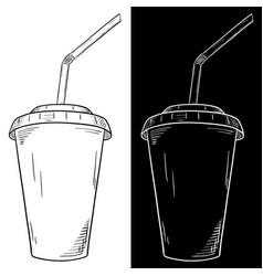 drink in disposable paper cup with straw hand vector image vector image
