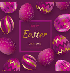 easter card with gold ornate golden eggs on a vector image