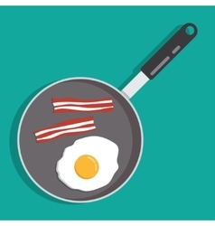 eggs and bacon in a frying pan vector image
