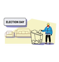 Election day concept construction worker in vector