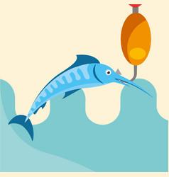 Fish fishing cartoon vector