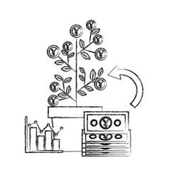 Foreign exchange plant profit diagram yen money vector