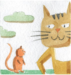 friendship cat and mouse meeting in a wood vector image