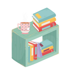 Furniture with books and tea cup isolated icon vector