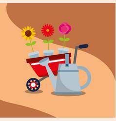 gardening wheelbarrow flowers in pot watering can vector image