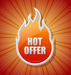 Glossy hot offer icon vector