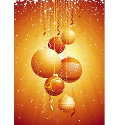 golden card with christmas balls vector image