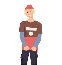 Guy in hat with book isolated character vector