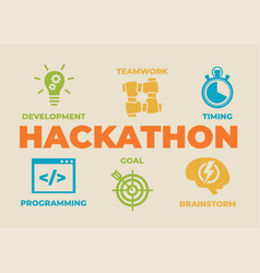 hackathon concept with icons and signs vector image