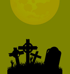Halloween background with tombstone cross and vector