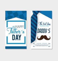 happy fathers day card with calligraphy and vector image