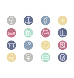 Home furniture flat icons vector
