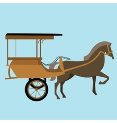 horse carriage cart asia delman old vector image