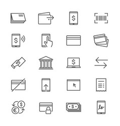 Internet banking thin icons vector