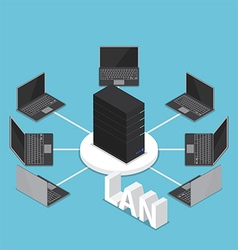 Isometric LAN network diagram vector image