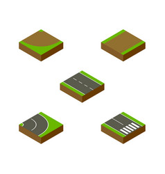 Isometric road set of single-lane turn vector